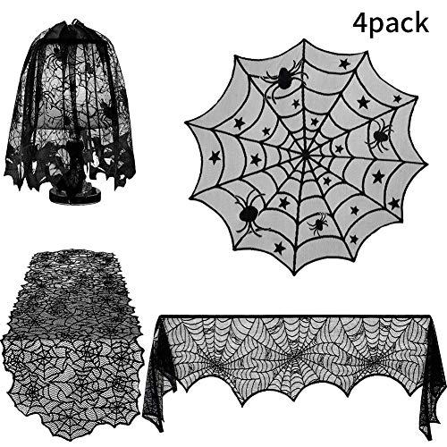 Kylewo 4 Stuks Halloween Decoratie Zwart Kant Spider Web, Ronde Tafelkleed, Halloween Lampen Paraplu's en Open haard Sjaal Cover voor Halloween Party Decoratie