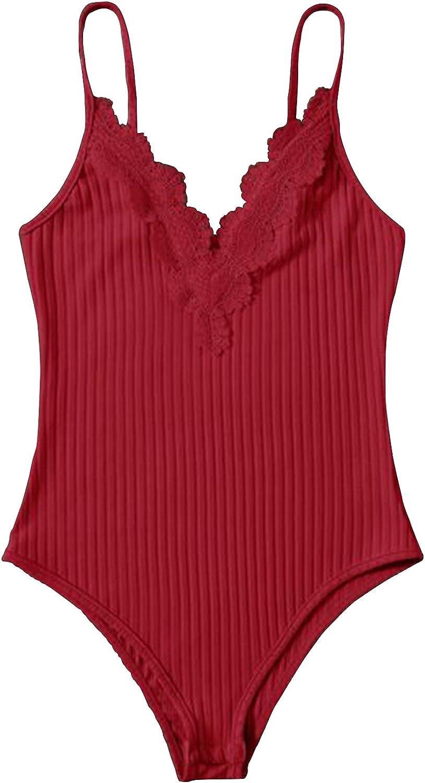 Contrast Lace Ribbed Cami Bodysuit,Ladies' jumpsuit