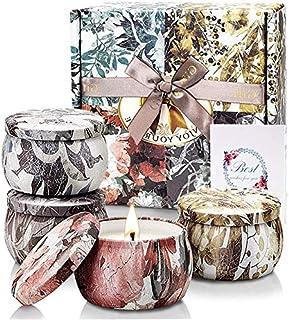 TOFU 4 Velas Perfumadas de Regalo[100% Natural] Regalos Originales para Mujer Velas Aromaticas para Decoración 120-144 H...