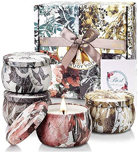 TOFU Bougie Parfumées 4 X 5.65 Oz, Coffret Cadeau Femme Ensembles de Bougies Deco, Cire De Soja,pour Mariage Bath Yoga Cadeau de Mères et La Saint-Valentin