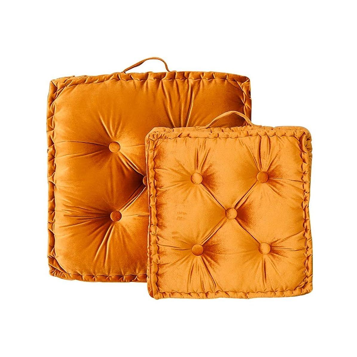 暴君規則性輪郭ポータブルチェアクッションパッド、高級シートクッションパッド、スローピローフロアクッション、フロアーシッティングパッド、ソリッドカラーシートマット畳 (Color : オレンジ, Size : 60x60/23.7