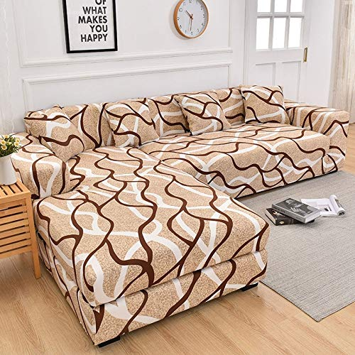 WXQY Funda de sofá geométrica para Sala de Estar, Funda de sofá Flexible, Funda de sofá con Funda de sofá de Esquina en Forma de L A5 2 plazas