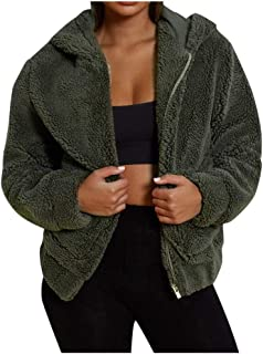 Women's Fashion Long Sleeve Hooded Coat Full Zipper Fluffy Oversized Soft Fur Jacket with Pockets Cozy Warm Coats