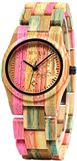 Bewell 105DL Colorful Bamboo Wristwatch for Women, Lightweight Quartz Analog Casual Wooden Watches Type 2