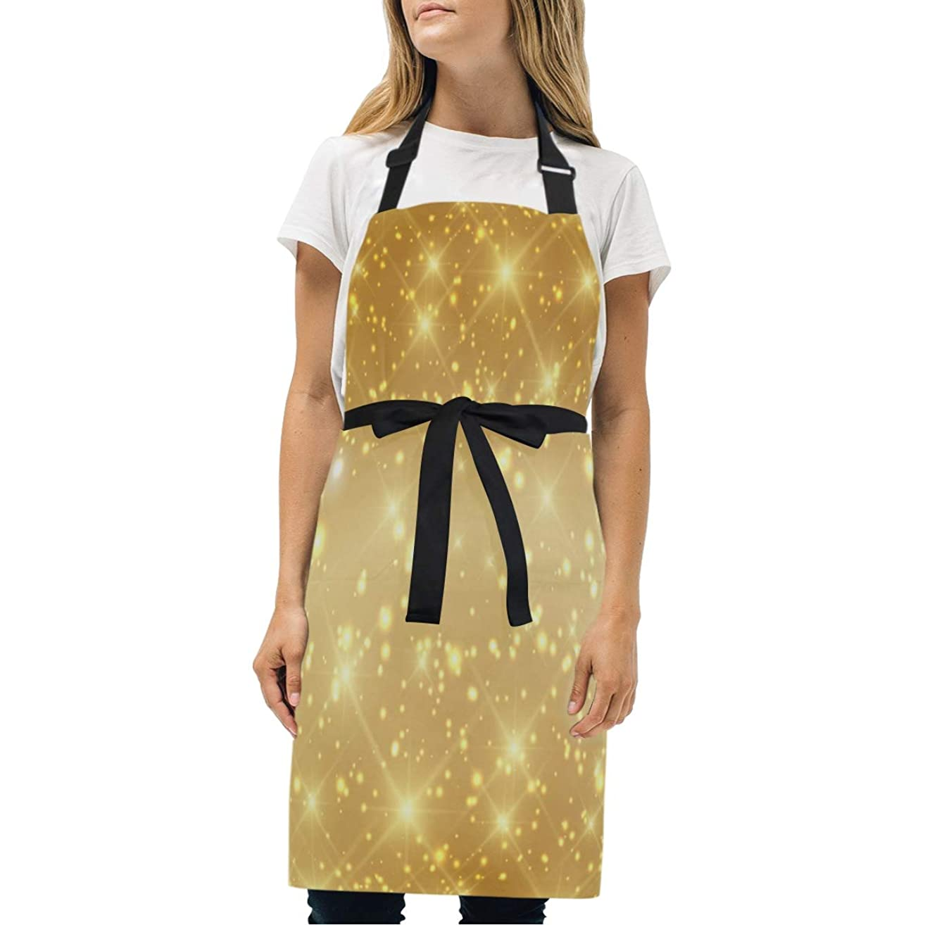 HJudge Womens Aprons Beautiful Gold Sparkle Kitchen Bib Aprons with Pockets Adjustable Buckle on Neck
