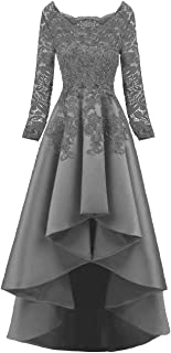 Women's Long Sleeves Beaded High Low Evening Prom Party Dress