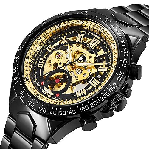 Armbanduhr Herren Mechanische Skelettuhr Automatik Armbanduhr Edelstahl Uhr Uhrwerk Metallarmband Black und Gold Watch