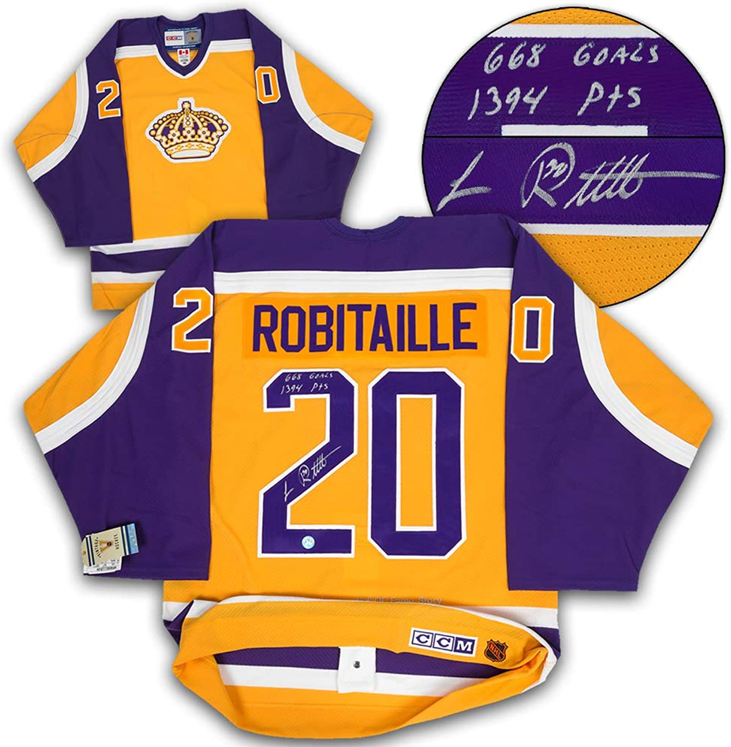 Luc Robisize L.A. Kings Signed & Inscribed Scoring Stats CCM Authentic Vintage Hockey Jersey
