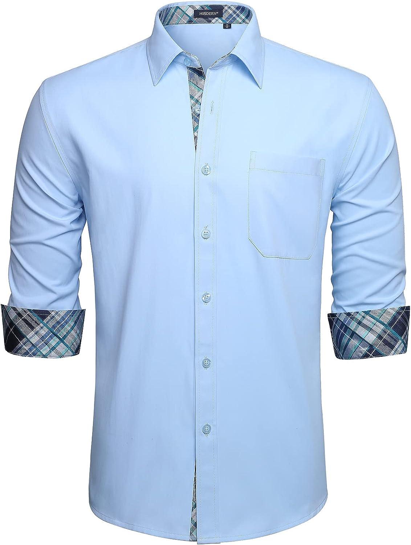 HISDERN Men's Dress Shirts Casual Inner Contrast Button Down Shirt Fashion Long Sleeve Plaid Collar Shirts Pocket Party