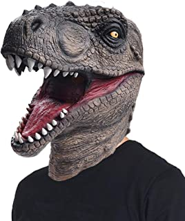 Novelty Halloween Costume Dinosaur Mask Latex Raptor Animal Head T-rex Jurassic