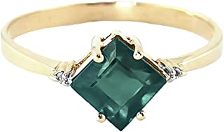 1.46 Carat 14K Solid Yellow Gold Love in A Frame Emerald Diamond Ring 4396Y