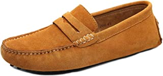 PPXID Men's Penny Loafers Slip-On Suede Moccasins Deck Boat Shoes