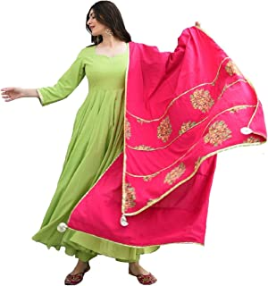 Style Amaze Women's Green Cotton Silk Semi Stitched Long Anarkali Salwar Suit with Digital Print Dupatta