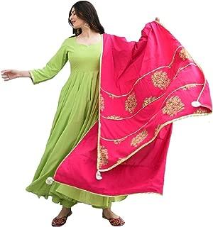 Monika Silk Mill Women's Green Cotton Silk Semi Stitched Long Anarkali Salwar Suit with Digital Print Dupatta