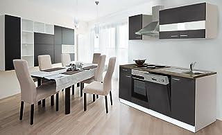 respekta Küche Küchenzeile Einbauküche 220 cm Weiß Front Grau KB220WG