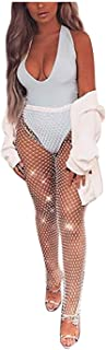 Fstrend Sparkly Crystal Fishnet Pants Rhinestone See Through Mesh Bottoms White Bikini Rave Festival Party Summer Beach Clubwear Accessories Jewelry for Women and Girls (120CM,White)