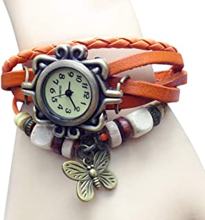 Docooler Women Fashion Vintage Handmade Wrist Watch Girl Exotic Leather Strap Quartz Watch