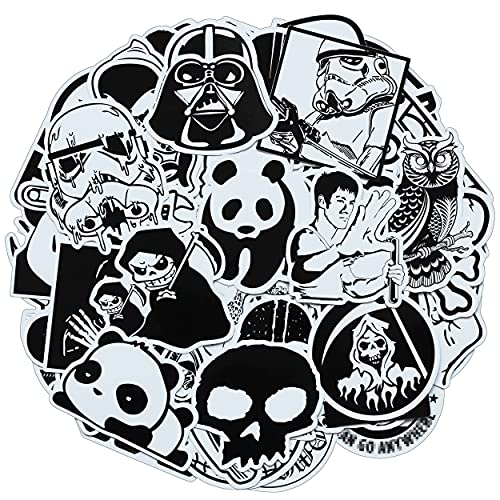 Stickers 100 Pcs Black and White Stickers for Adults Teens Kids Skateboard Laptop Computer Car Helmet Cool Vinyl Graffiti Stickers Bomb Pack Waterproof Decals for Men Phone Motorcycle Bumper