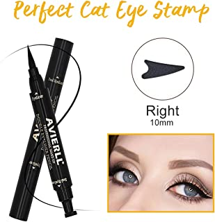 AVIERLL Eyeliner Pencil Print Double Head Quick Dry Waterproof Long Lasting Liquid Eyeliner-black (Right) Dual-End Smudgeproof Liquid Ultra-Fine Tip Eyeliner