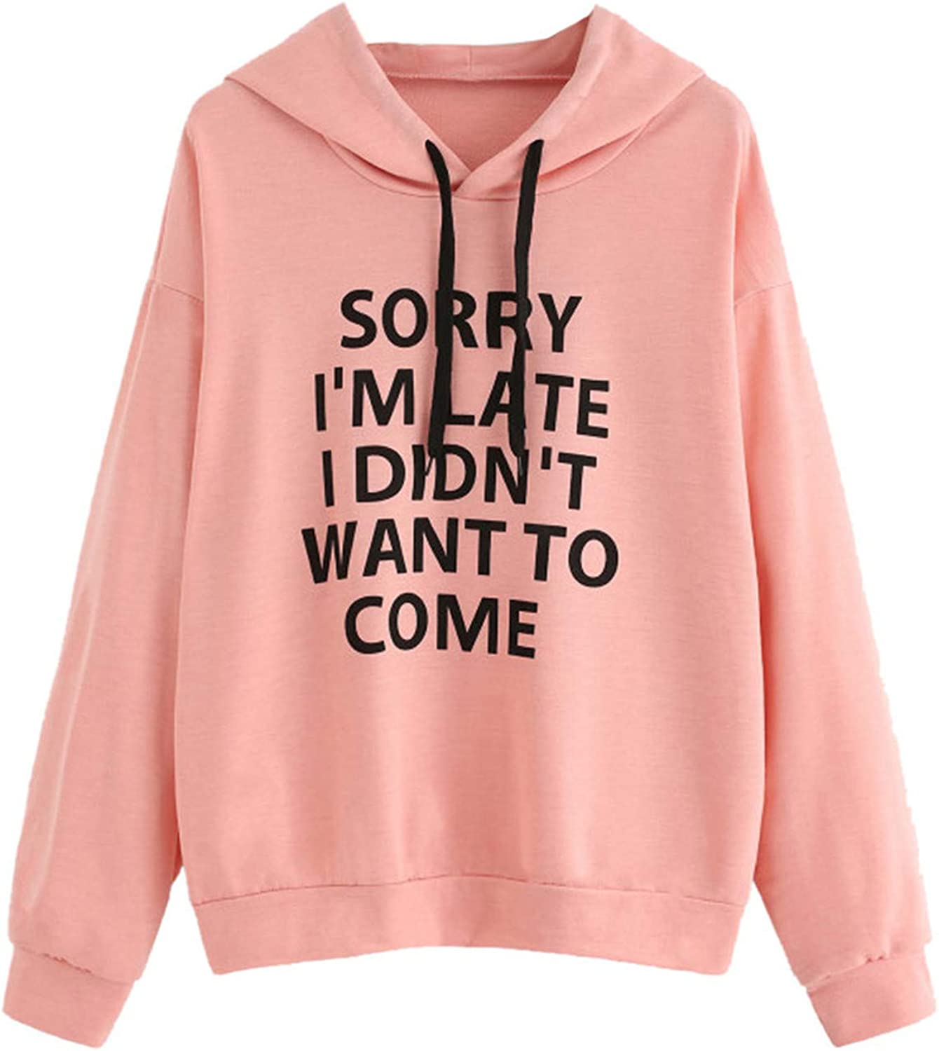 Women's Pullover Hoodies Casual Loose Letter Print Long Sleeves O-Neck Hooded Sweatshirts Blouse Tops for Teen Girls