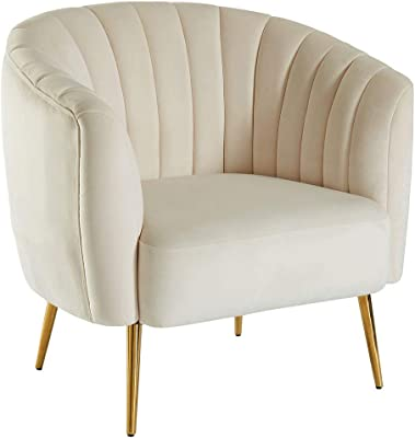 Benjara Benzara Fabric Upholstered Living Room Chair with Metal Legs, Ivory and Gold