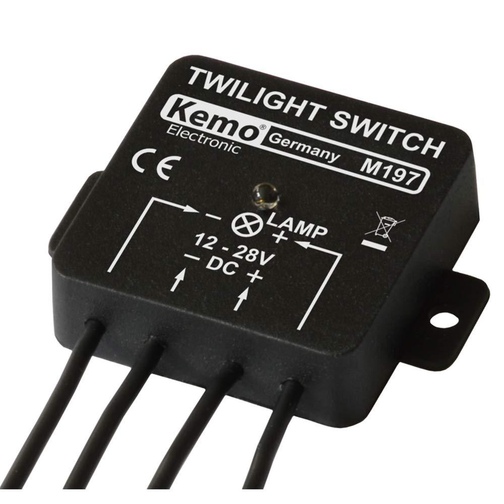 Kemo Interruptor crepuscular M197 12 – 28 V CC, máx. 5 A. Encendido y apagado automático al anochecer. Para cualquier carga eléctrica como bombilla, motor o lámpara LED.