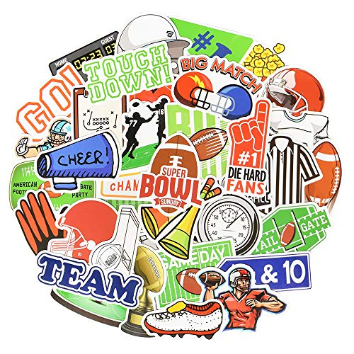 Football Stickers for Laptop Sports Stickers for Water Bottles Stickers for Kids Football Stickers for Helmet Sports Stickers for Boys Waterproof 50Pcs