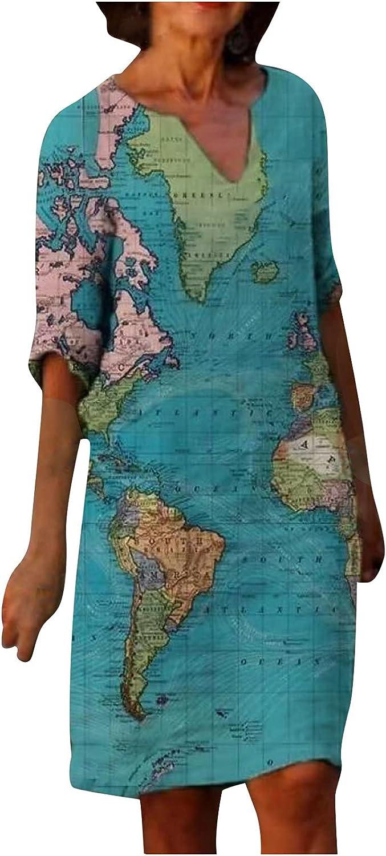 Anu Linen Fashion Women Casual V-Neck Half Sleeve Map Printing Loose Dress Womens Summer Causal Outdoor Beach Dress