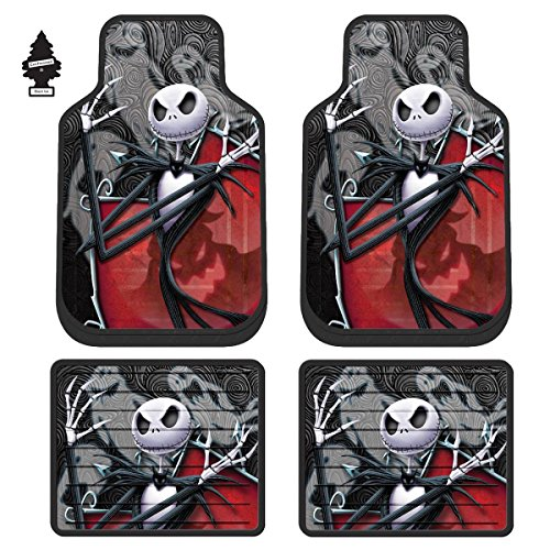 Yupbizauto Set of 4 Plasticolor Disney Nightmare Before Christmas Jack Skellington Ghostly Auto Truck SUV Car Floor Mats with Air Freshener