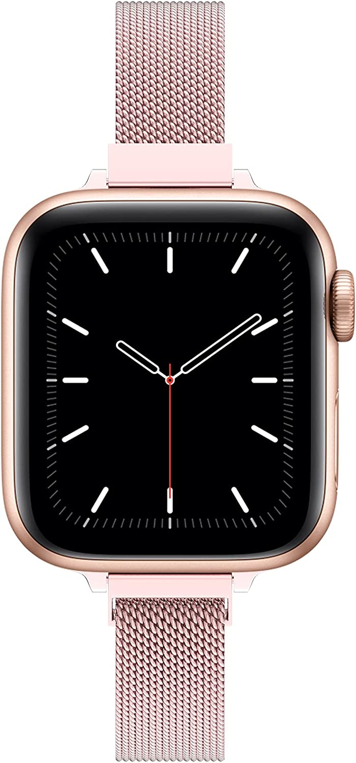 TACA-H Compatible with Apple Watch Band 41mm 38mm 40mm 45mm 42mm 44mm for Women, Slim mesh Stainless Steel Wristband with Strong Magnetic Clasp Replacement Band for iWatch Series 7/6/SE/5/4/3/2/1