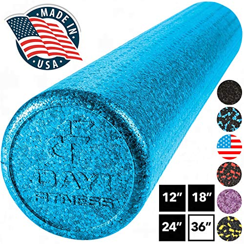 High Density Muscle Foam Rollers by Day 1 Fitness - Sports Massage Rollers for Stretching, Physical Therapy, Deep Tissue, Myofascial Release - Ideal for Exercise and Pain Relief – Solid Blue, 36""