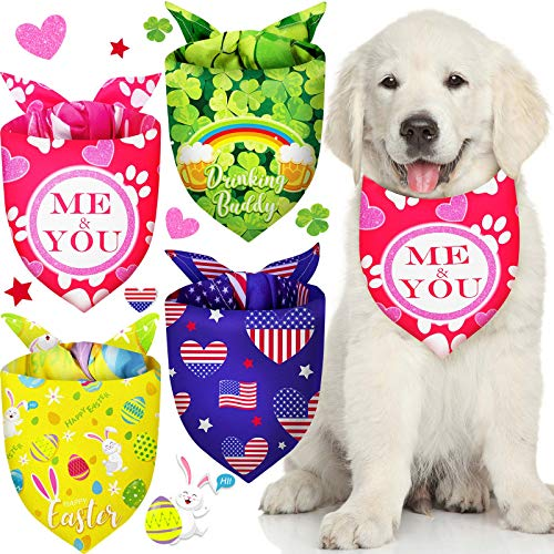 4 Piezas Bandanas de Perros de San Valentn Da San Patricio Pascua Pauelo Tringulo de Perro Patritico Babero Lavable Pauelos de Mascotas Festival para Disfraz Mascotas (L)