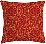 <span class='highlight'><span class='highlight'>JamirtyRoy1</span></span> Throw Pillow Cover, Red Mandala Throw Pillow Cushion Cover, Tribal Motifs Details Floral Wisdom Eastern, Decorative Square Accent Pillow Case 22
