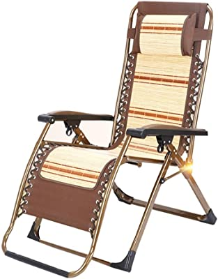Chairs Recliners Sun Lounger Beach Bamboo Summer Folding Office Lunch Break Outdoor Portable Camp Bed Can Bear 300 Kg (Color : Brown, Size : 63109cm)