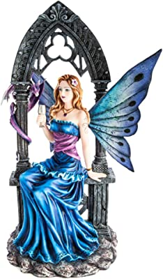 Mystic Worlds Azure Fairy Under Stone Arch with Baby Dragon Statue