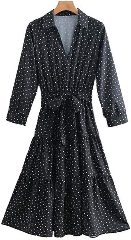 FUZHUANGHM Women Black Dots Print Dress Bow Tie Sashes Three Quarter Sleeve Female Casual Dresses Elastic Waist A Line