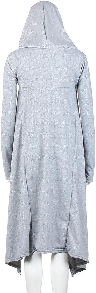 YWLINK 2019 Damen Kleidung,Frauen Einfarbig UnregelmäßIges Hood Sweatshirt Mit Kapuze Damen Langer Abschnitt Long Pullover Bluse Oberteile Grau