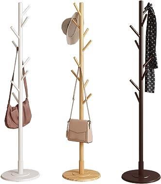 Liukouu Porte-Manteau en Bois, 8 Crochets Forme d'arbre Vintage Portemanteau De Plancher Porte-Manteau à Assembler sur Pi