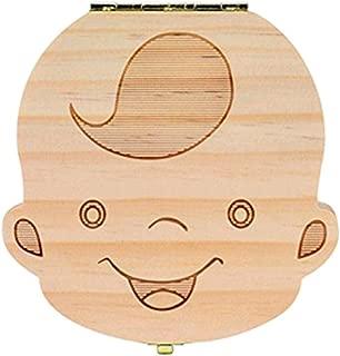 contenitore per denti di latte Custodia rigida per organizzatore di souvenir per ragazze ragazzo WeiMay Cute Print Scatola per denti di legno per bambini versione tedesca, ragazze