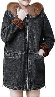 iHHAPY Women Denim Jacket Winter Jacket Long Coat Thicken Warm Parka Faux Fur Collar Hooded Jacket Elegant Casual Jacket