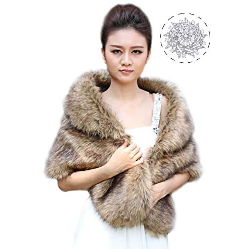 4117e6c794b6 Aukmla Sleeveless Faux Fur Shawl Wedding Fur Wraps and Shawls Bridal Fur  Stole for Brides and