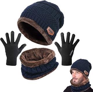 Yutdeng Gorro Bufanda de punto Guantes Invierno Set de Bufanda y Gorro Cuello Suave y C/álida Caliente Guantes de Pantalla T/áctil para Mujer Hombre Regalos