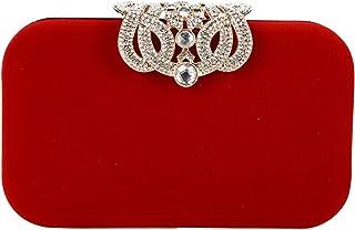 Bestgift Damen Clutch-Handtasche mit Kronenverschluss, Samt, Rot - rot - Größe: One Size