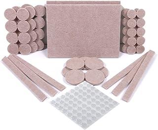 Protectores para patas de mesa. Juego de 124: 60 fieltros adhesivos y 64 lagrimas silicona adhesivas. Protector adhesivo para patas de sillas, fieltro para sillas de 5mm de grosor y más durabilidad