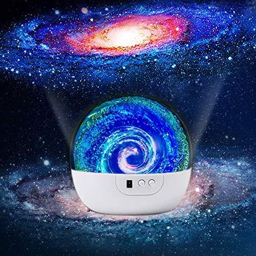 Proyector de luz nocturna Proyector estelar de 360 grados Lámpara con cable USB Nube de nebulosa de dormitorio para salas de...