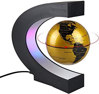 Aukee 3 inch C Shape Magnetic Levitation Floating Globe Maglev Globes World Map with LED Light for Teaching Home Office Desk Decoration Golden
