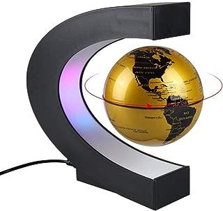 Aukee 3 inch C Shape Magnetic Levitation Floating Globe Maglev Globes World Map with LED Light for Teaching Home Office Desk Decoration Golden