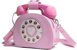 Oweisong Damen Handtasche und Geldbörse, Retro-Telefon-Griff, Schultertasche