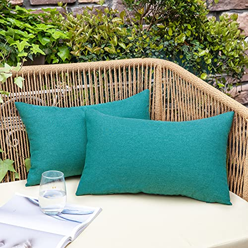 NEERYO Outdoor Patio Lumbar Throw Pillow Covers - Decorative Solid Cotton Linen Farmhouse Waterproof Pillowcases for Garden Couch Sofa Tent Balcony, Pack of 2