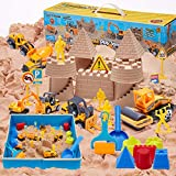 Play Sand Toy Construction Sand Kit - 2.20 lbs Play Sand, 6 Construction Toy Trucks, Road Signs, Figures, Mold, Foldable Sandbox. Sand for Kids, Sand for Sandbox Toys. Construction Toys for Kids.